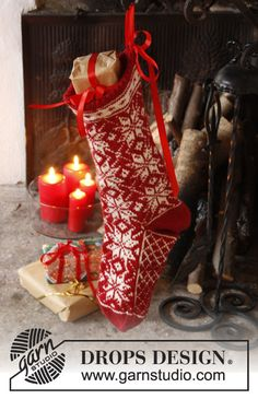 """Mr. Kringle's Stocking - DROPS Christmas: Knitted DROPS Christmas stocking with Norwegian pattern in """"Karisma"""". - Free pattern by DROPS Design"""