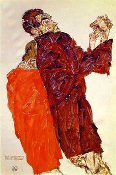 Egon Schiele - The Truth Unveiled (1913). Medium: Gouache, watercolor and pencil on off-white wave paper.