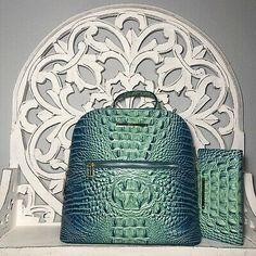 Brahmin Felicity Backpack BLISS and Ady Wallet SET  | eBay Leather Backpack, Leather Wallet, Colorful Snakes, Brahmin Handbags, Card Wallet, Aqua Blue, Bliss, Backpacks, Pocket