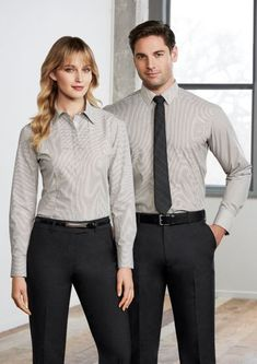 Women's Berlin Long Sleeve Shirt cotton, polyester, elastane stretch fabric Yarn-dyed stripe Wrinkle-free liquid ammonia treated fabric Shoulder pleats Bust and waist darts Concealed button placket Corporate Uniforms, Corporate Outfits, Corporate Wear, Men In Uniform, Hotel Uniform, Office Uniform, Long Sleeve Shirts, Short Sleeve Dresses, Dresses With Sleeves
