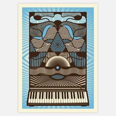 This retro, optical art-style limited-edition Moogadelica Serigraph Print was made for the SYNTH art show at Moogfest 2011. Graphic artist and Status Serigraphfounder, Justin Helton, silkscreens each piece by hand on 160-pound Manilla Tag paper and signs and numbers every work on the reverse side.