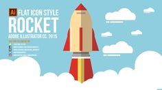Flat Style Tutorial - Rocket [Adobe Illustrator CC 2015] Photoshop Illustrator, Illustrator Tutorials, Flat Icons, Flat Style, Fashion Flats, Design Tutorials, Computers, Graphic Design, Learning