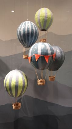 Paper mache hot air balloons.