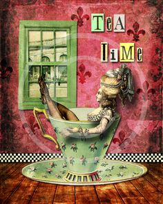 Collage Art Print - Tea Time - 8 x 10 via Etsy.