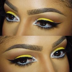 i love mi eyes in yello eyeshadow. gota learn to work with white and black. this eyeliner is pro