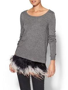 Milly Ostrich Plume Sweater how fun would this be with silverfish leggings and heels?