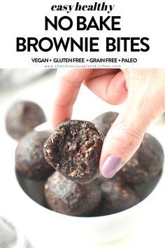 NO BAKE BROWNIE BITES #nobake #browniebites #healthy #vegan #walnuts #pecan #glutenfree #raw #desserts #vegansnack Vegan Gluten Free Desserts, Healthy Vegan Snacks, Delicious Vegan Recipes, Healthy Sweets, Healthy Baking, Paleo, Tasty, Vegan Brownie, Brownie Bites