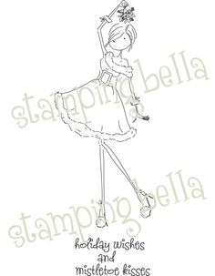 Stamping Bella Unmounted Rubber Stamp-Uptown Girl Eve Under The Mistletoe