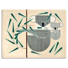 """Mid-century modern meets Motawi mastery in this tile adapted from Charley Harpers """"Koala Koala"""" print."""