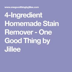 4-Ingredient Homemade Stain Remover - One Good Thing by Jillee