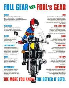 Essential Motorcycle Gear Infographic is one of the best Infographics created in the Sports category. Check out Essential Motorcycle Gear now! Motorcycle Safety Gear, Motorcycle Quotes, Motorcycle Travel, Ninja Motorcycle, Motorcycle Posters, Biker Quotes, Harley Davidson Motorcycles, Custom Motorcycles, Custom Baggers