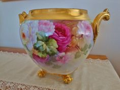 Amazing Antique Limoges France Gorgeous Painted Huge  Jardiniere - Planter - Urn ~Roses~Gold~19th Century~France Studio~