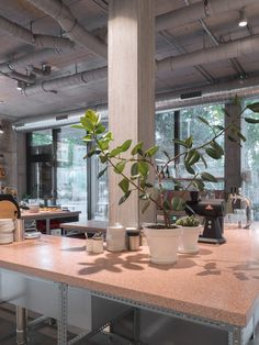 miró manufactura de café based in Zurich. Café, Roastery and Shop. Coloured stone, galvanised steel, concrete and cork are the prime material used our location. Photographed and copyrights Yoichi Iwamoto. Coffee Business, Galvanized Steel, Zurich, Cork, Concrete, Stone, Plants, Rock, Corks