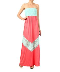 Love this Coral & Mint Lace Strapless Maxi Dress by J-Mode USA Los Angeles on #zulily! #zulilyfinds