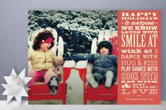 vintage typography message holiday photo cards from Minted