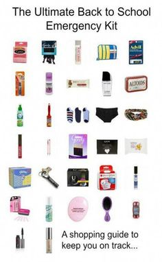 The Ultimate Back to School Emergency Kit Everything you need to put together the ultimate back to school emergency kit! The post The Ultimate Back to School Emergency Kit appeared first on School Diy. Middle School Supplies, Middle School Hacks, School Kit, Life Hacks For School, School Bags, School Stuff, School Ideas, Back To School Emergency Kit, Emergency Kit For Girls