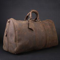 Men's Vintage Leather Travel Bag / Luggage / Duffle Bag / Sport Bag / Weekend Bag