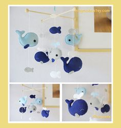 Whale Mobile - Baby Mobile - Nursery Crib Mobile - Felt Fish Mobile - Mustard…