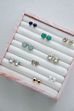 Organize all your small jewels with this DIY earring and ring box.