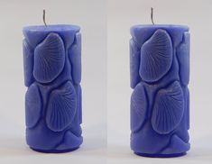 Shell Embossed Pillar Candles- Set of 2 - Blue Color Scented Pillar Candles, Candle Set, Shells, Blue, Color, Home Decor, Conch Shells, Decoration Home, Room Decor