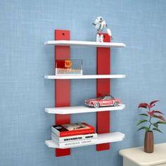 india wooden handicraft wooden wall shelf red & white Wooden Wall Shelf(Number of Shelves - 4, Red, White)