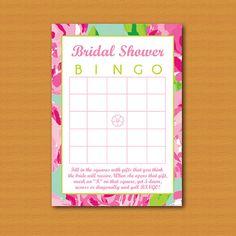 Bridal Shower Bingo Lilly Pulitzer Inspired by DestinationInvite
