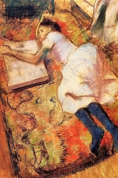 """Edgar Degas """"Jong meisje lezend op de vloer"""""""