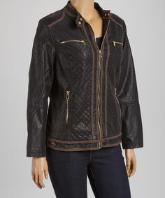 Look what I found on #zulily! Black & Brown Quilted Moto Jacket - Plus #zulilyfinds