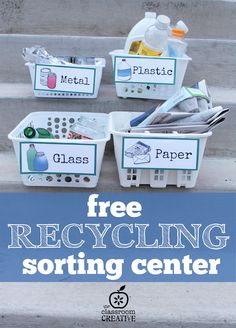 free recycling sorting center for earth day and science from theclassroomcreat…. free recycling sorting center for earth day and science from theclassroomcreat… Kindergarten Science, Preschool Lessons, Science Center Preschool, Preschool Education, Elementary Science, Earth Day Activities, Science Activities, Nursery Activities, Recycling For Kids