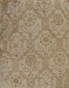 Smock | V   1600-1620  A deep carnation-pink silk   Here the embroidery design consists of two repeating patterns which run diagonally from lower left to upper right; one with a carnation alternating, the other with roses.