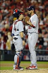 Game 5 of the NLDS- Yadi chats with Waino on the mound 10-12-12