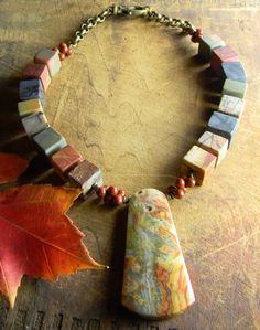 Chunky Jasper Necklace Choker Autumn Agate Brass One of a Kind