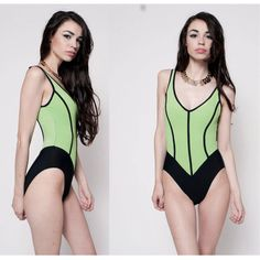 90's Neon Striped Swimsuit by rumors on Etsy, $48.00