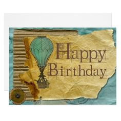 Old Happy Birthday Card - birthday invitations diy customize personalize card party gift