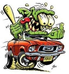 From the creators of Madd Doggs Muscle Cars comes this brand new custom made heavyweight cotton tshirt featuring the Monsters with Attitude Mustang. Ed Roth Art, Cartoons Magazine, Cool Car Drawings, Monster Car, Fu Dog, Rat Fink, Garage Art, Automotive Art, Automotive Furniture