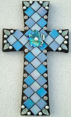 Mosaic Cross Silver Lining by BrokenBeautyMosaics on Etsy, $225.00
