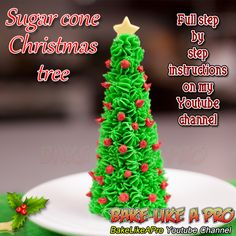 Easy Sugar Cone Christmas Tree Tutorial ►CLICK PICTURE to watch recipe Holiday Baking, Christmas Baking, Christmas Recipes, Holiday Recipes, Baking Recipes, Great Recipes, Christmas Tree Food, Sugar Cones
