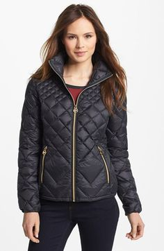 MICHAEL Michael Kors Diamond Quilted Down Jacket (Online Only) available at #Nordstrom. LOVE THE BLACK, small