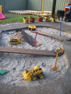 Sandpit area at Karana Early Education Centre ≈≈ http://www.pinterest.com/kinderooacademy/sand-water-play/