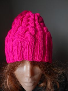0ab0d5533e4 Cable Knit Slouchy Beanie Hat Acrylic Neon Pink Hand Made Slouchy Beanie  Hats