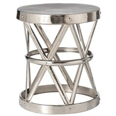 Pulp Home - Costello Polished Nickel Side Table - This side table is the perfect table for use as a side table or nightstand. It instantly adds a little glitz and glamour to your space.