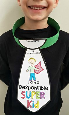 Empower kids to be responsible at school as they wear a responsible super kid tie. Also find 15 books and videos for the classroom to teach kids how to be responsible. #socialemotionallearning #charactereducation #responsibility #responsibilityactivities #teachingresponsibility