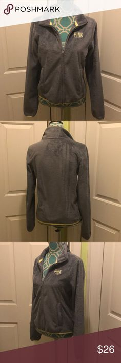 "Victoria's Secret "" pink"" Jacket. VS Pink jacket. Size - s . Colors- gray,yellow . Worn once. Soft . Zip up front. 2 pockets.  Pretty and comfortable! PINK Victoria's Secret Jackets & Coats"