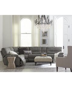 Liam Fabric Power Reclining Sectional Sofa Collection, Created For Macyu0027s    Furniture   Macyu0027s