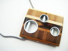Unique wood pendant, ooak, modern, bamboo, necklace, Chutes and Ladders