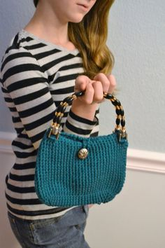 Crochet Teal Handbag with Beaded Handles by HermitsOfAfton on Etsy