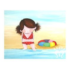 Wall art print illustration child room nursery decoration girl bikini. $18.00, via Etsy.