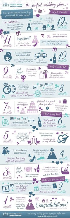 For those of you planning a wedding in a short deadline, we thought this handy 12 month guide would be the ideal tool to get you through it!