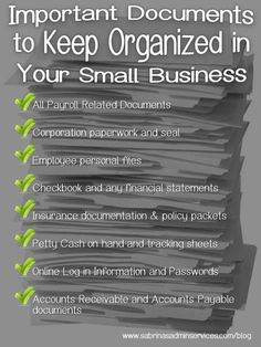 Important Documents to Keep Organized in Your Small Business Small Business Plan, Business Advice, Start Up Business, Business Planning, Online Business, Business School, Types Of Small Business, Best Small Business Ideas, Business Money