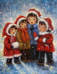 Vier+Christmas+Carolers+Kunstdruck+vier+von+VickieWadeFineArt